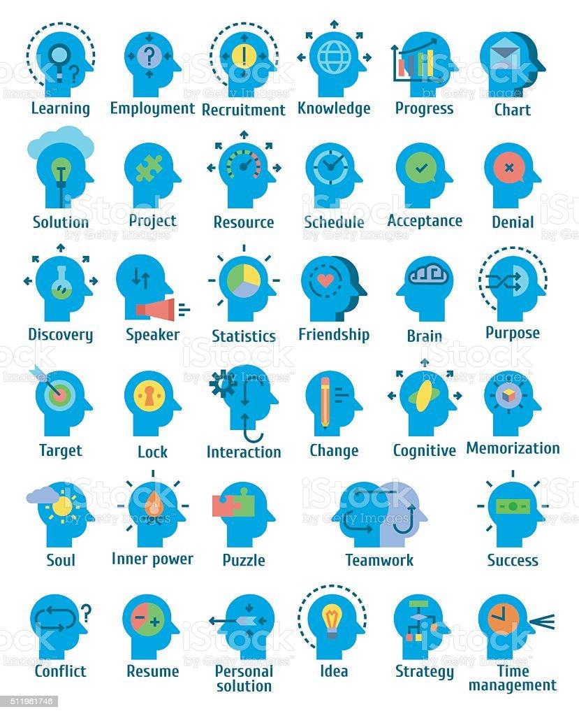 Flat pictogram icons set of human brain working, vector art illustration