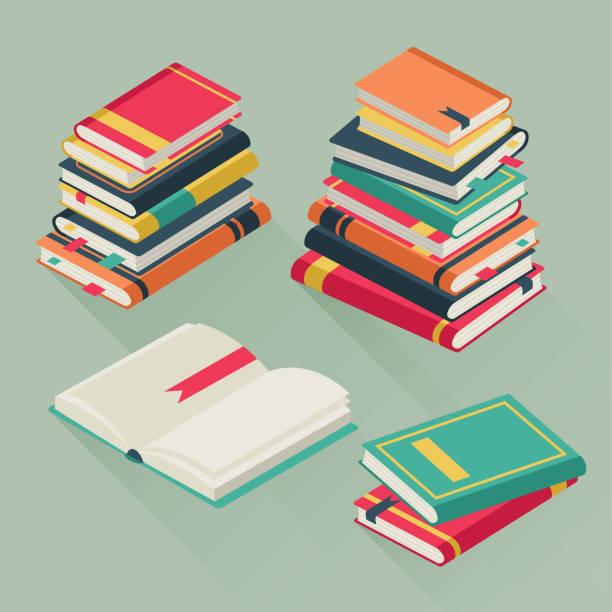 flache stapelbücher. gestapelte lehrbücher, fachliteratur geschichte schulbibliothek lehrgang unterricht buchstapel vektorabbildung - reiseliteratur stock-grafiken, -clipart, -cartoons und -symbole