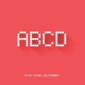 B C D A - Flat Pixel Alphabet