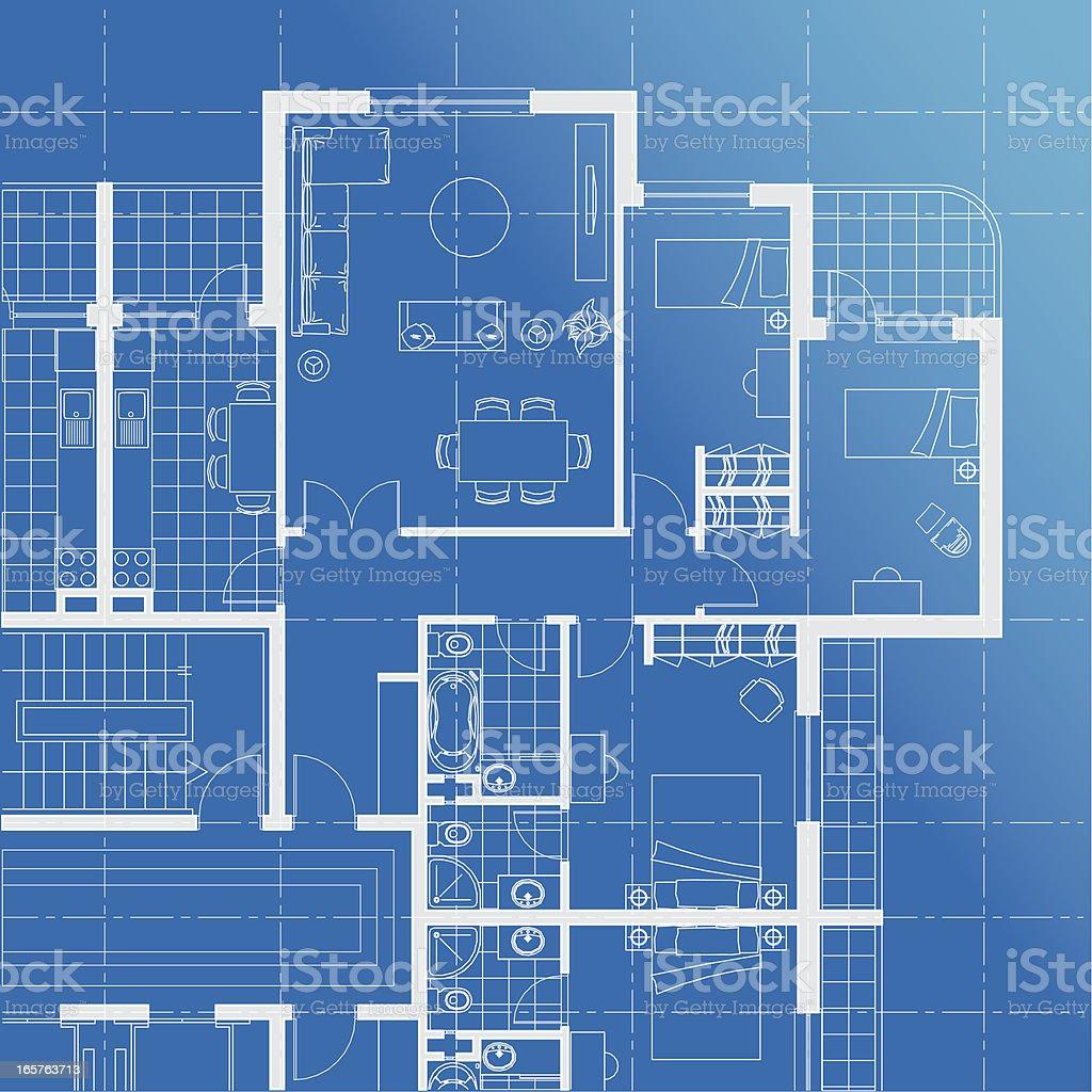 Flat Plan Blueprint Stock Vector Art & More Images of Apartment ...