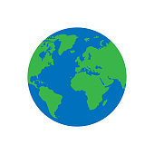 Flat planet Earth icon. isolated on white background. Vector illustration. Eps 10.