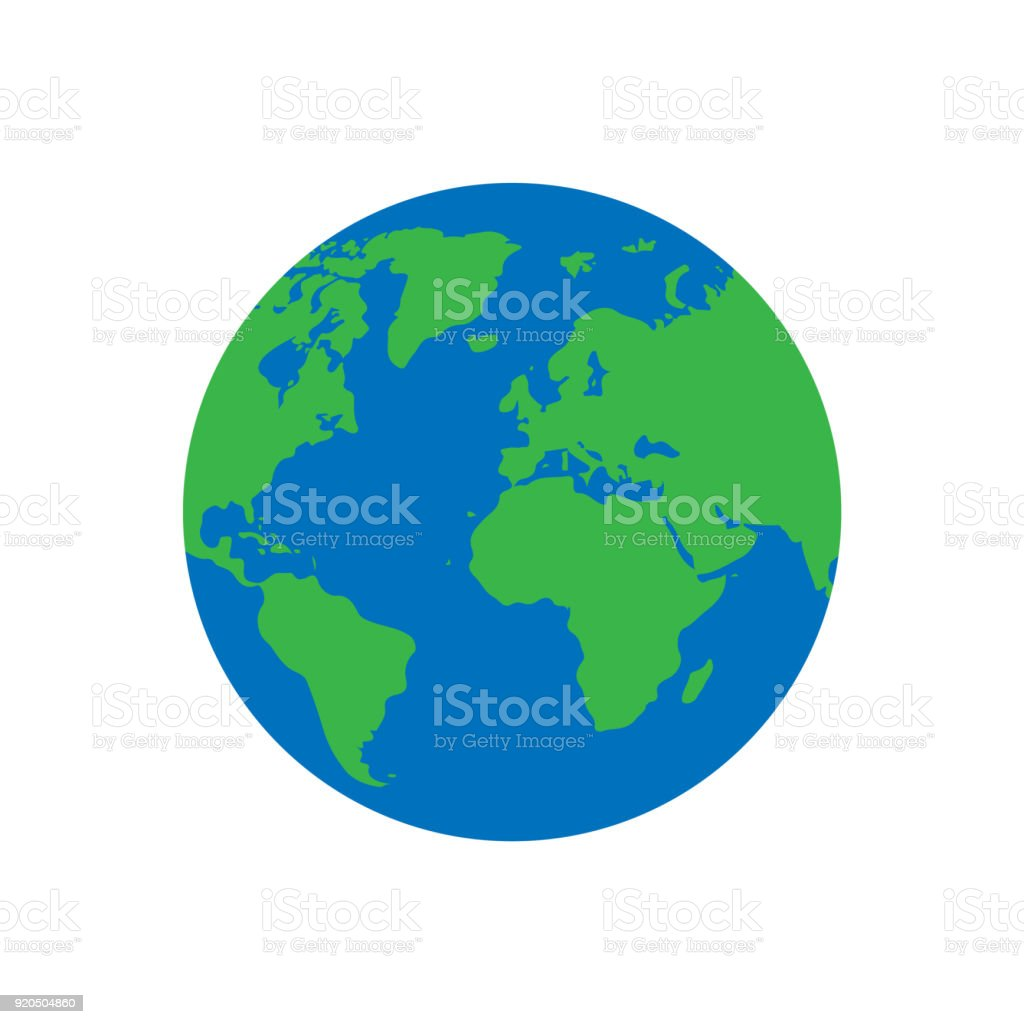 Flat planet Earth icon. isolated on white background. Vector illustration. vector art illustration
