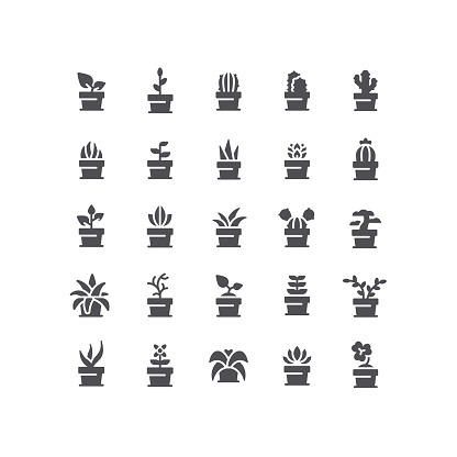 Flat Plant In Pot Icons