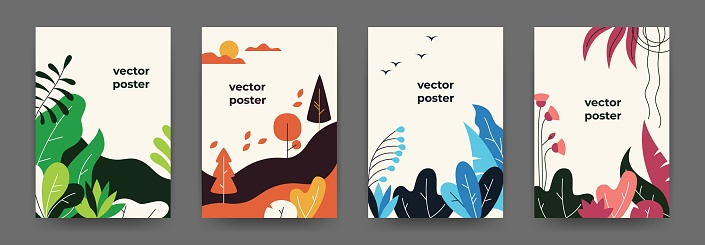 Flat plant posters. Gradient abstract geometric banners with copy space floral frames, jungle leaves and plants. Vector cover design