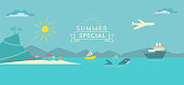 istock flat polygonal summer landscape illustration with whale and ships on sea 932799176