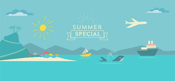 flat polygonal summer landscape illustration with whale and ships on sea