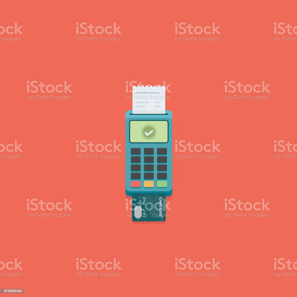 Flat Pos payment terminal and credit card. Cashless payment Illustration vector art illustration