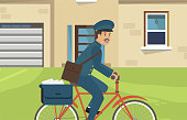 Flat Postal Bicycles are Made in Corporate Style. Postman Uses an Electric Bike for Daily Commuting. Vector Illustration on Background Building with White Horizontal Rollers on Garage.