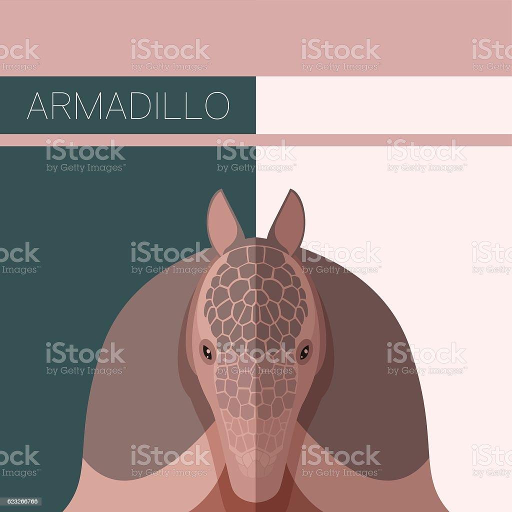 Flat postcard with Armadillo vector art illustration