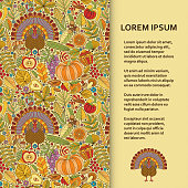 Flat poster or banner template with autumn pattern and turkey