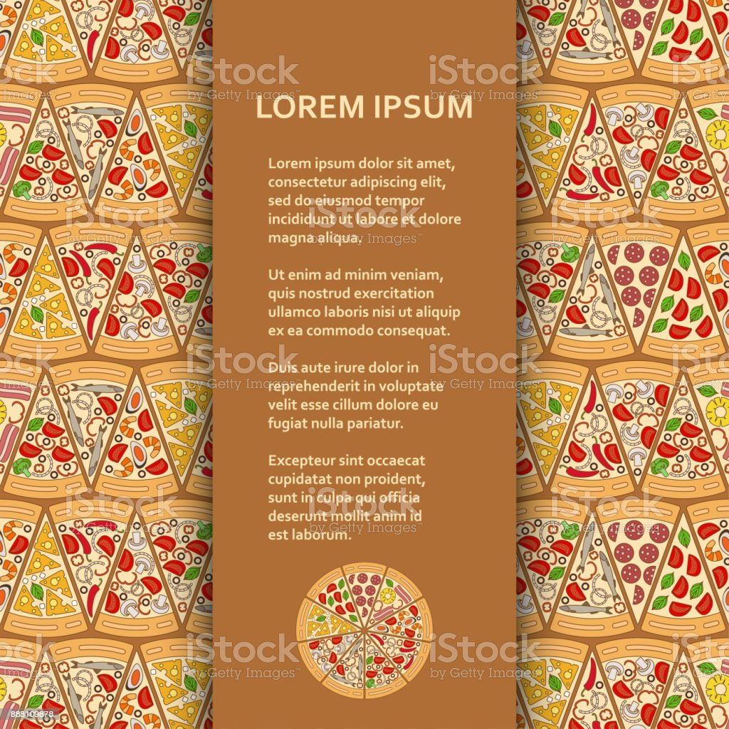 Flat poster or banner template with pizza pieces vector art illustration