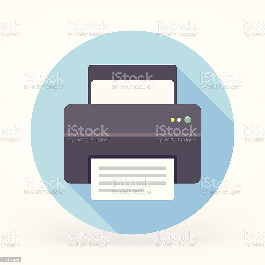 Flat Printer Icon vector art illustration