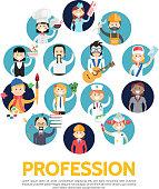 Flat profession avatars set with teacher engineer builder painter artist accountant doctor stylist musician postman chef waitress stewardess isolated vector illustration