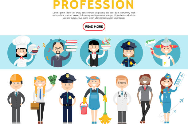 Flat Professions Set Flat professions set with engineer accountant police officers maid doctor stylist stewardess cook teacher waitress painter isolated vector illustration police interview stock illustrations