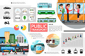 Flat public transport elements composition with bus trolleybus subway bicycle light traffic passengers city tram scooter ship diagrams vector illustration