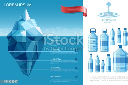 Flat pure water infographic template with iceberg in ocean and plastic bottles of clear aqua vector illustration
