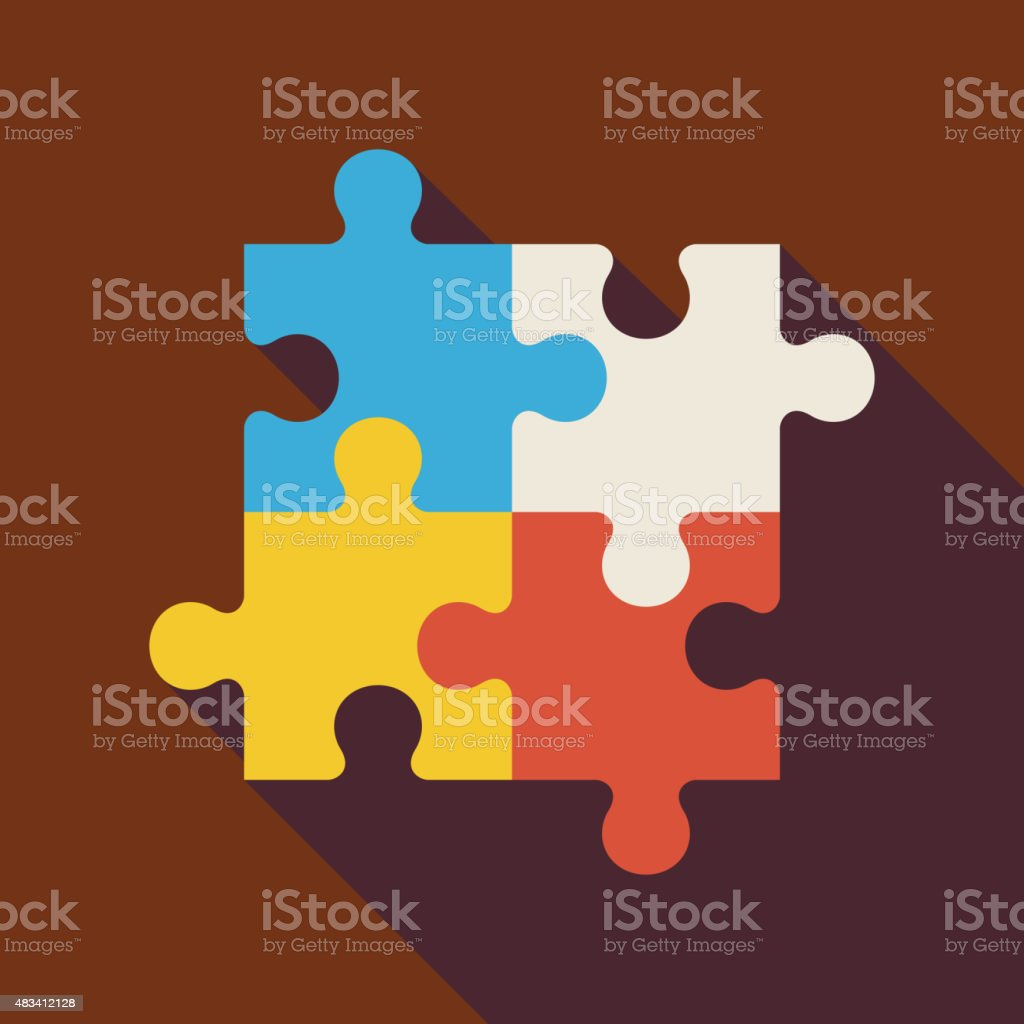 Flat Puzzle Illustration with long Shadow vector art illustration