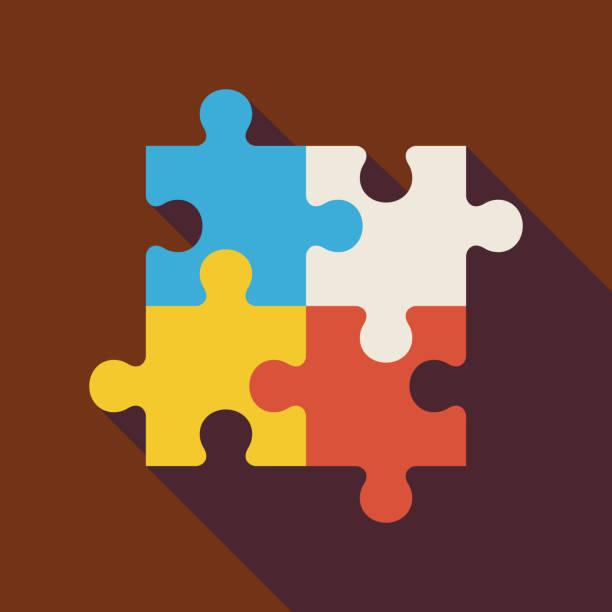 flache mit langen schatten-puzzle illustrationen - puzzle stock-grafiken, -clipart, -cartoons und -symbole