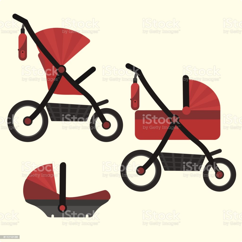 Flat red baby carriage transformer icon. Vector childrens pram 3 in 1 symbol vector art illustration