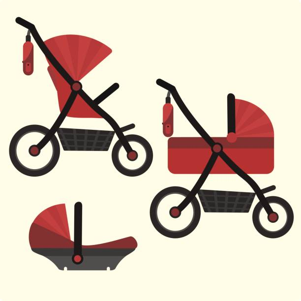 Flat red baby carriage transformer icon. Vector childrens pram 3 in 1 symbol Flat red baby carriage transformer icon. Vector childrens pram 3 in 1 symbol including carriage, stroller and safety car seat. Cute colorful baby girl and boy unisex transport symbol baby carriage stock illustrations