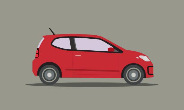 illustrazioni stock, clip art, cartoni animati e icone di tendenza di vettore auto rosso piatto. automobile con sfondo isolato. lato del design della mini car - auto
