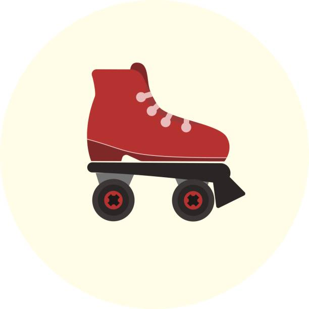 flache rote skate rollen symbol - rollschuh stock-grafiken, -clipart, -cartoons und -symbole