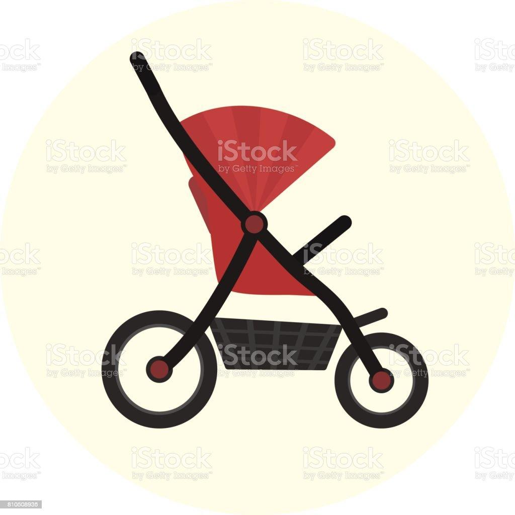 Flat red vector baby stroller icon. Cute kids pram symbol vector art illustration