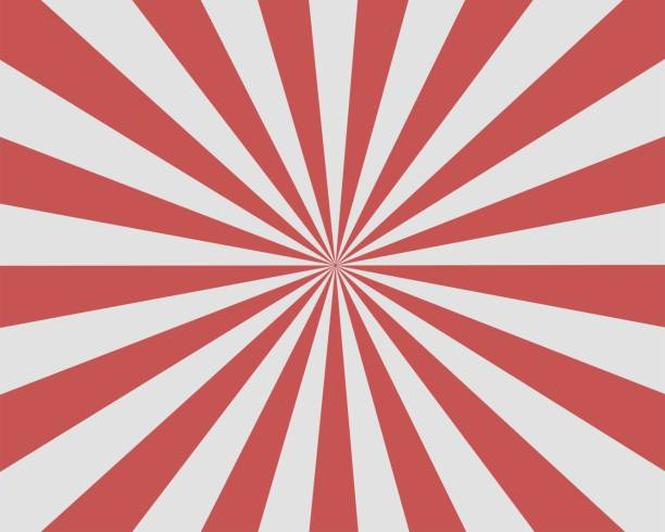 flat red white sunburst rays sunbeam background vector - promień słońca stock illustrations