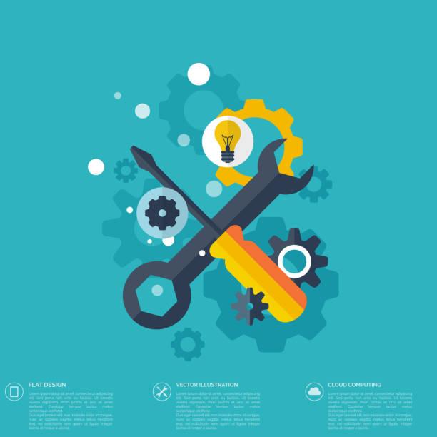 Flat repair icon. Mechanic service concept.  Web site creating Flat repair icon. Mechanic service concept.  Web site creating. repairing stock illustrations