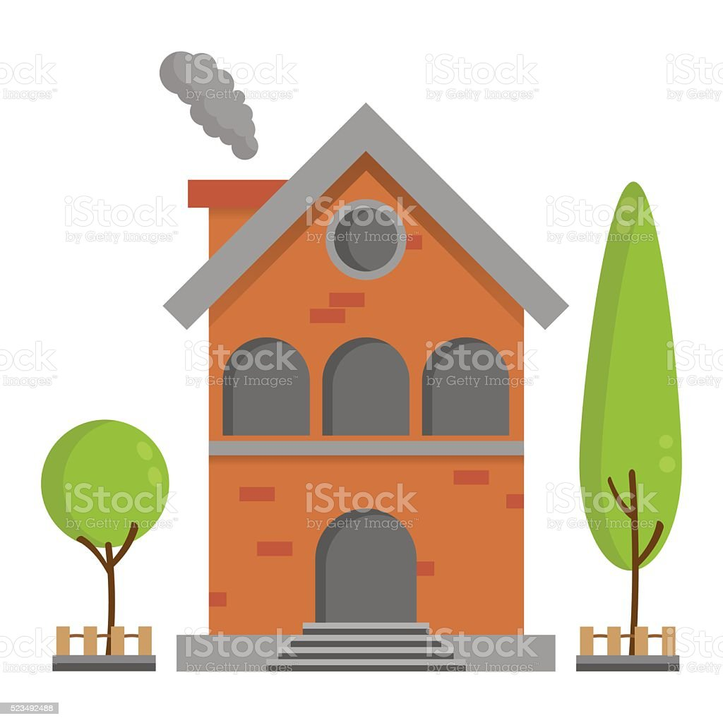 Flat Residential Brick House With Tree Background Vector Building Illustration Royalty Free
