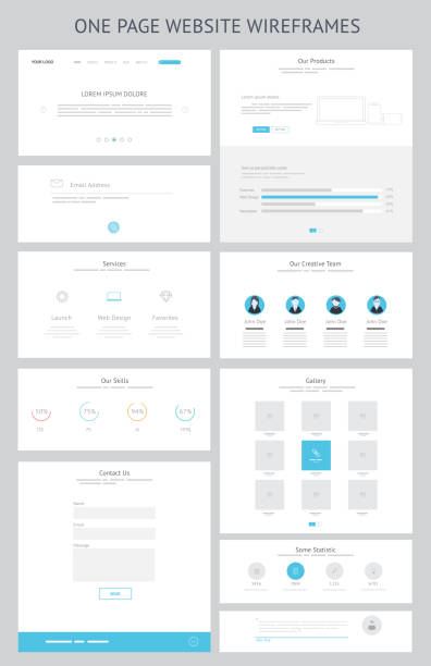 flat responsive one page website wireframe kit - wire frame model stock illustrations