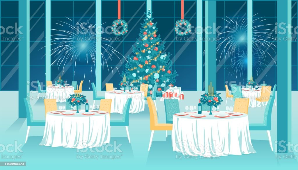Flat Restaurant Interior With Xmas New Year Decor Stock Illustration Download Image Now Istock