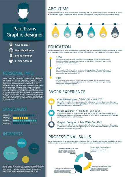 flat resume info graphic design. - resume templates stock illustrations