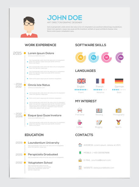 flat resume with infographics - resume templates stock illustrations