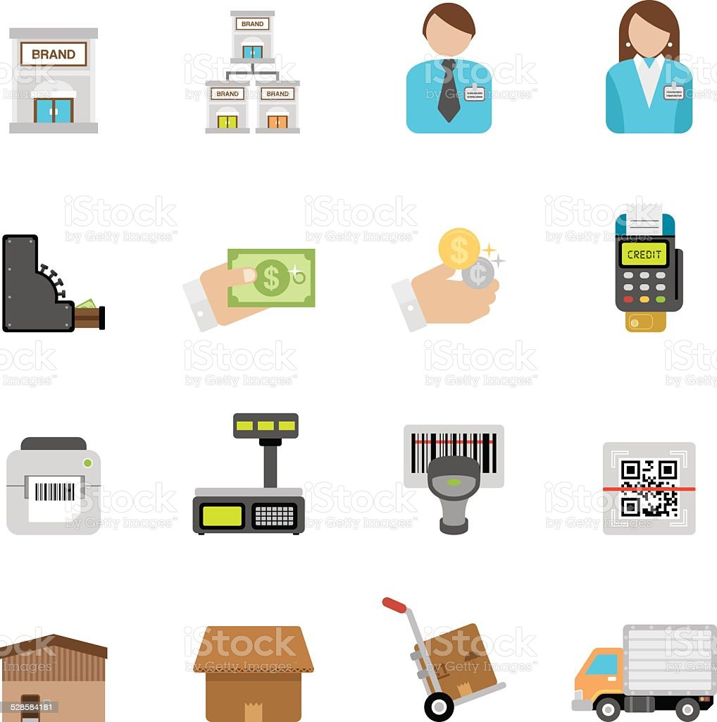 Flat Retailing icons | Simpletoon series vector art illustration