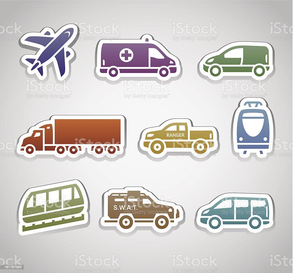 flat retro color stickers - set seven royalty-free stock vector art