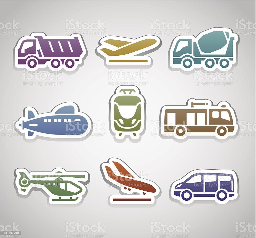 flat retro color stickers - set thirteen royalty-free stock vector art