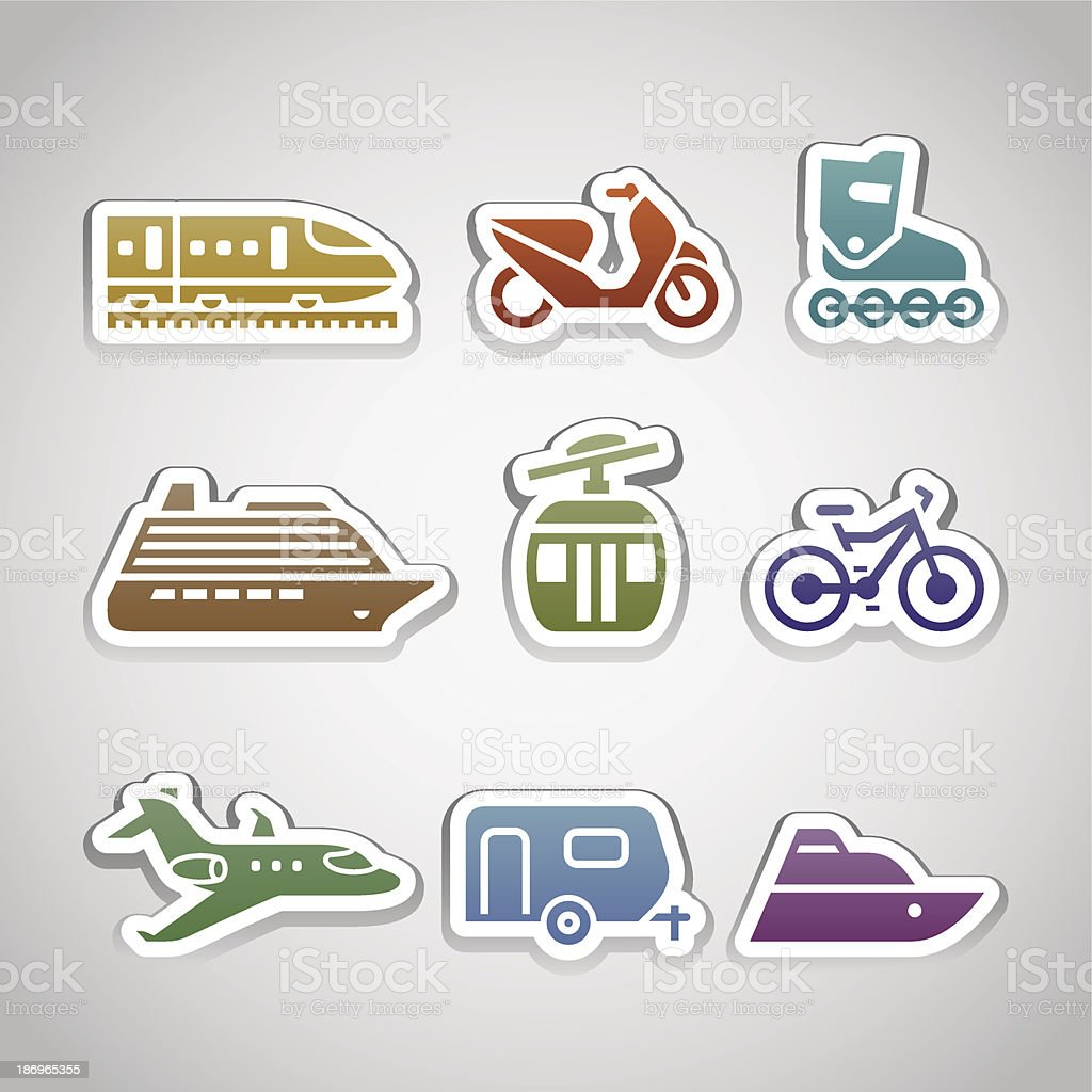 flat retro color stickers - set twelve royalty-free stock vector art