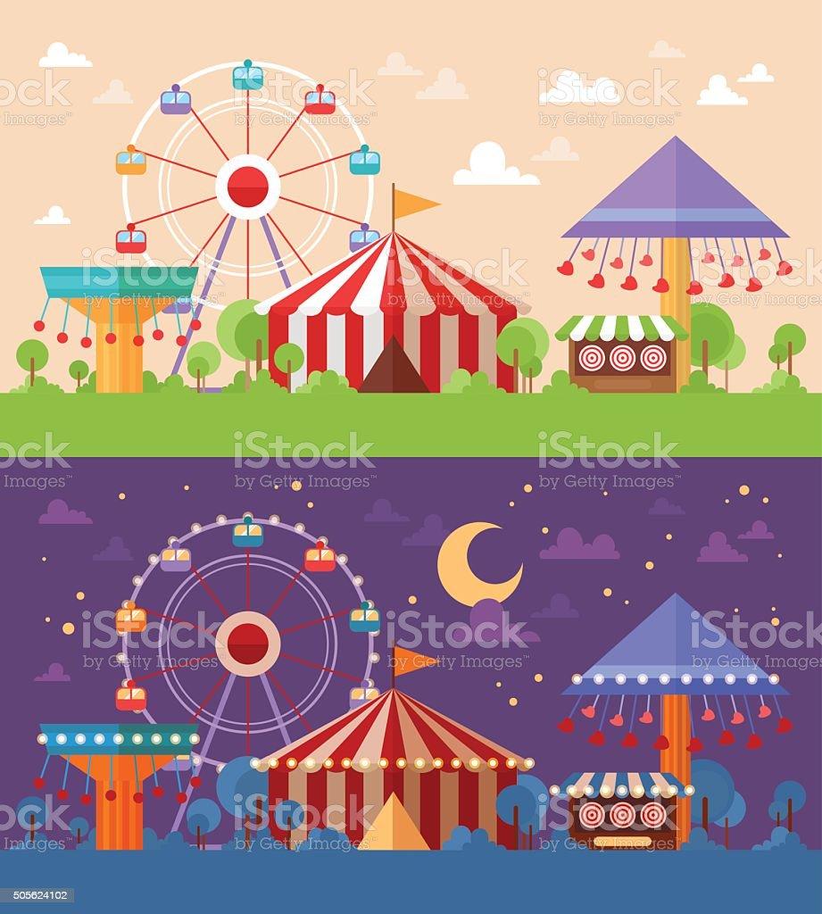 Flat Retro Funfair Scenery with amusement attractions vector art illustration