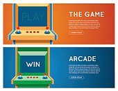 Flat retro game machine banner set.