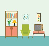 flat retro interior living room with bookcase,chair, television.vector illustration