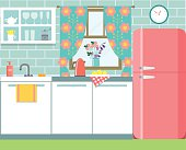 flat retro kitchen in rustic style. vector illustration