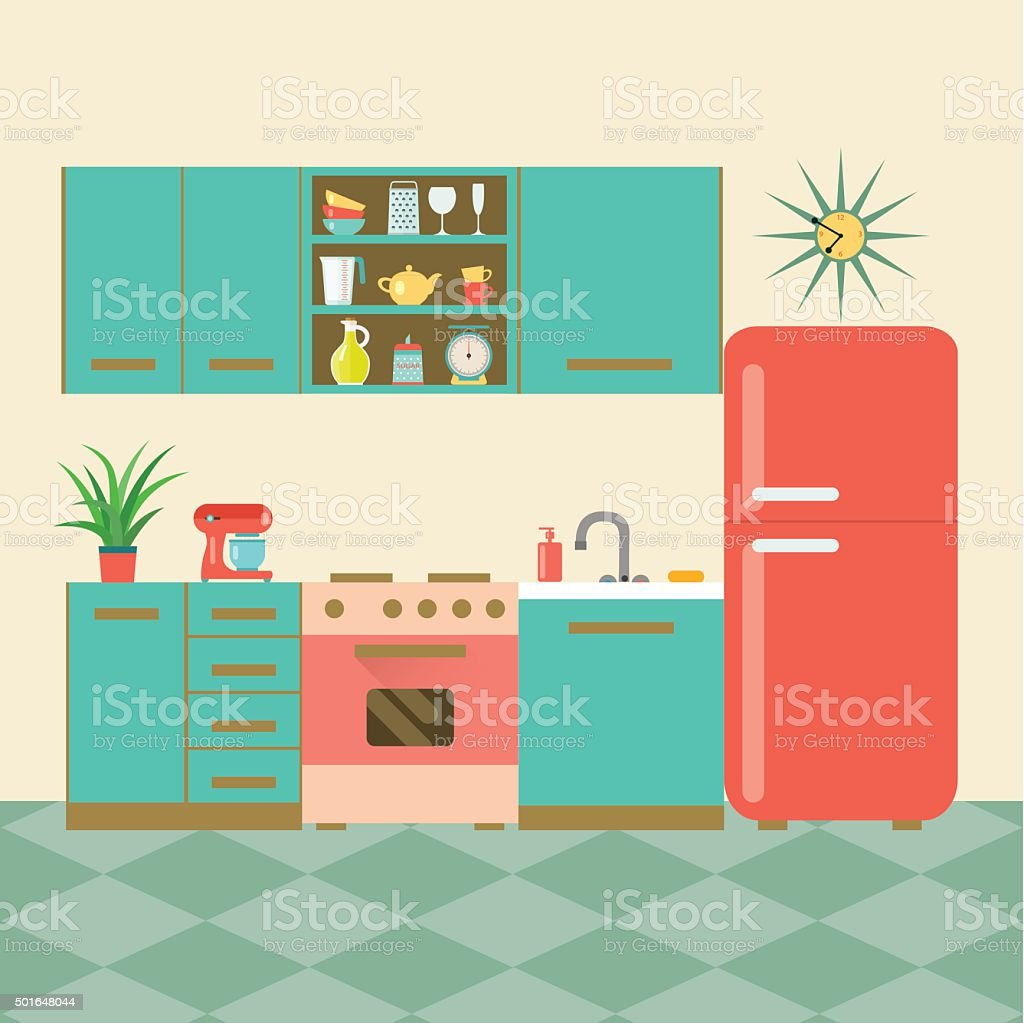 Retro Kitchen Illustration: Flat Retro Kitchen Vector Illustration Stock Vector Art