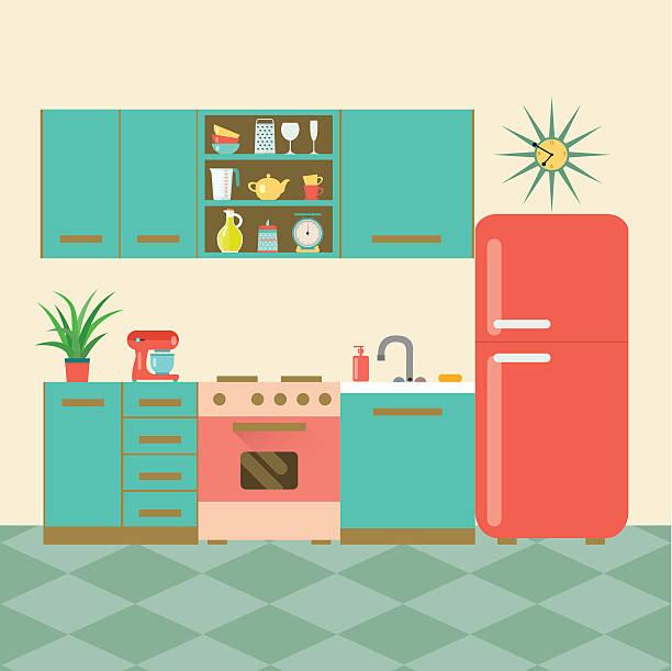 flache retro-küche. vektor-illustration - waschküchendekorationen stock-grafiken, -clipart, -cartoons und -symbole