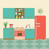 flat retro kitchen. vector illustration