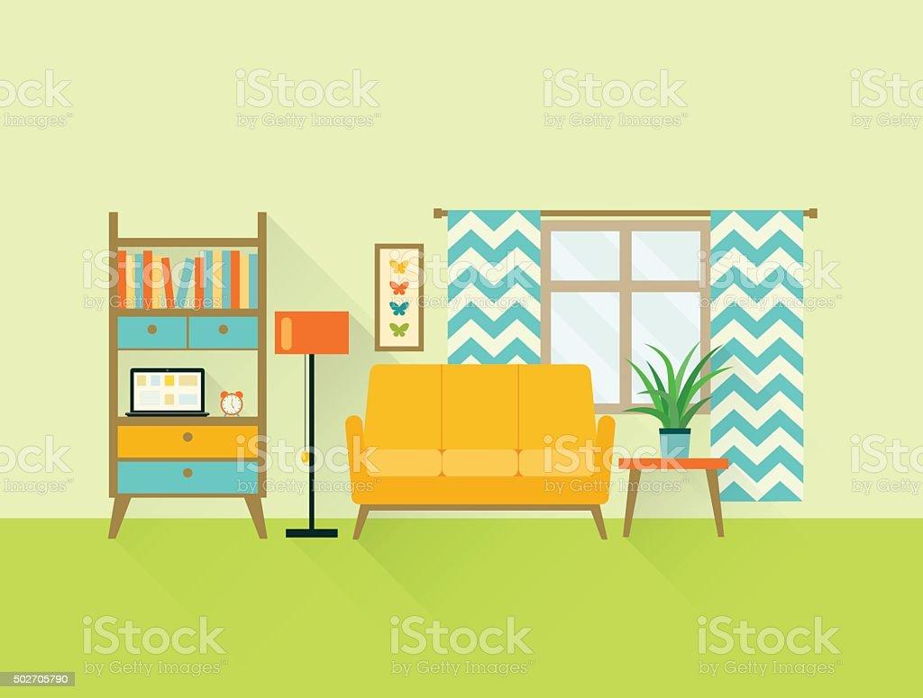 Superb Flat Retro Living Room. Vector Illustration Vector Art Illustration