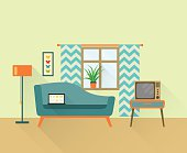 flat retro living room with sofa, window and television. vector illustration