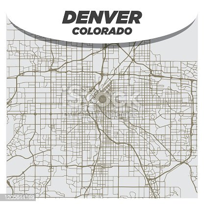 Flat Retro Style City Street Map of Denver Colorado on Neutral Background