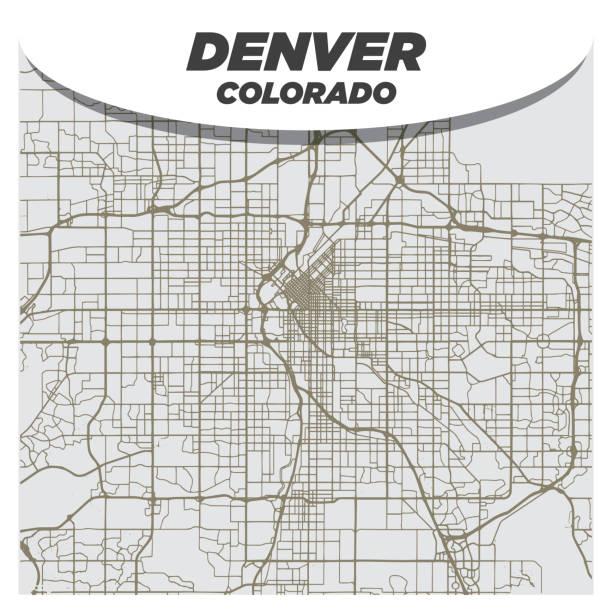 Flat Retro Style City Street Map of Denver Colorado on Neutral Background vector art illustration