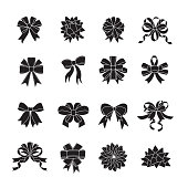 Flat ribboon bow icon set. set of 16 editable filled, Simple clearly defined shapes in one color.